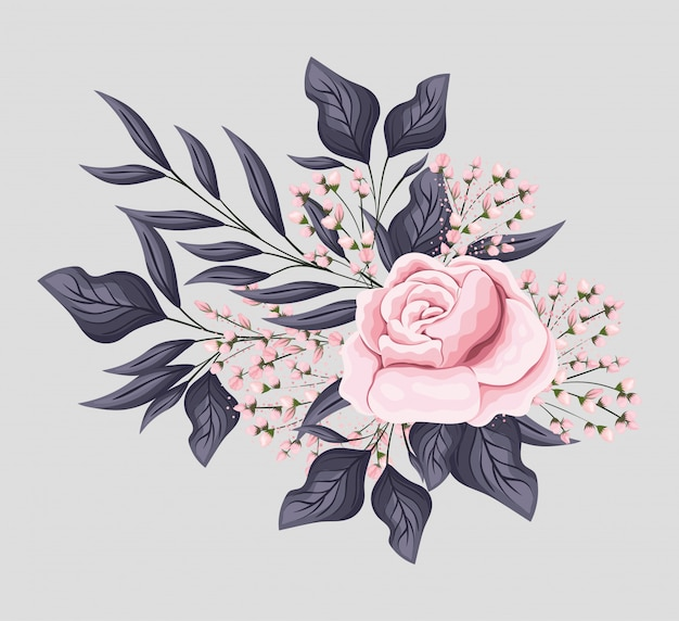 Pink rose flower with leaves painting design, natural floral nature plant ornament garden decoration and botany theme illustration Premium Vector