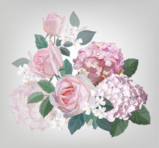 Pink rose and hydrangea vector illustration Premium Vector