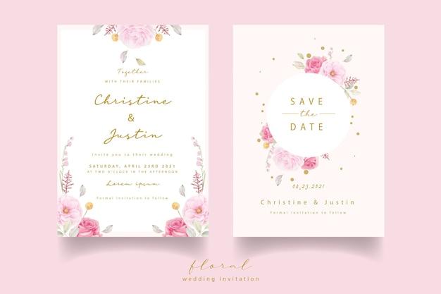 ピンクのバラの水彩結婚式の招待状 無料ベクター