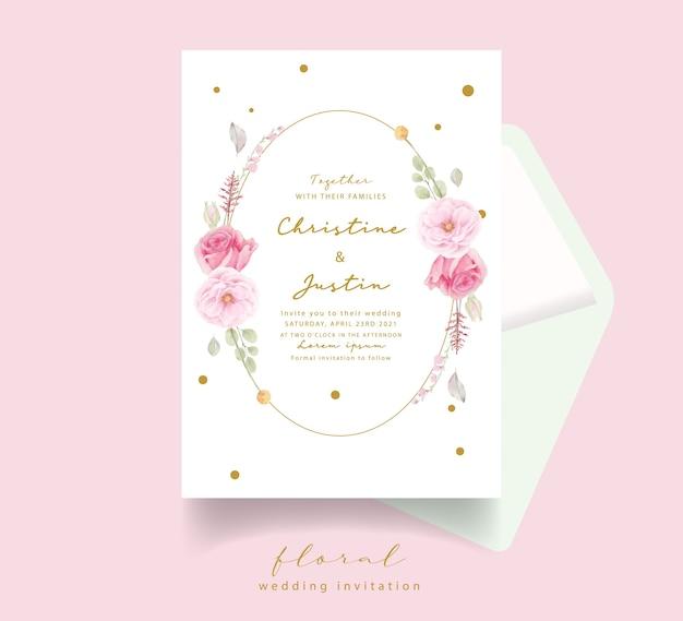 Розовая роза акварель свадебное приглашение Бесплатные векторы