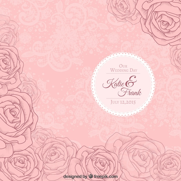 Pink roses wedding invitation vector free download pink roses wedding invitation free vector stopboris Image collections