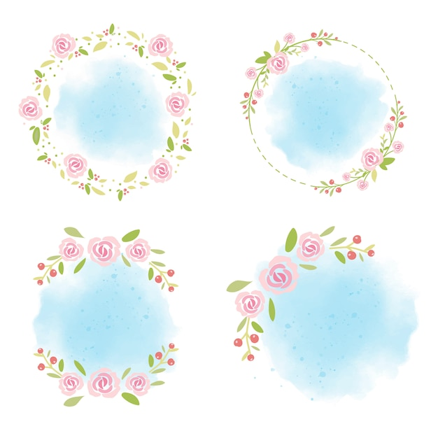 Pink roses wreath on blue watercolor background collection for summer Premium Vector