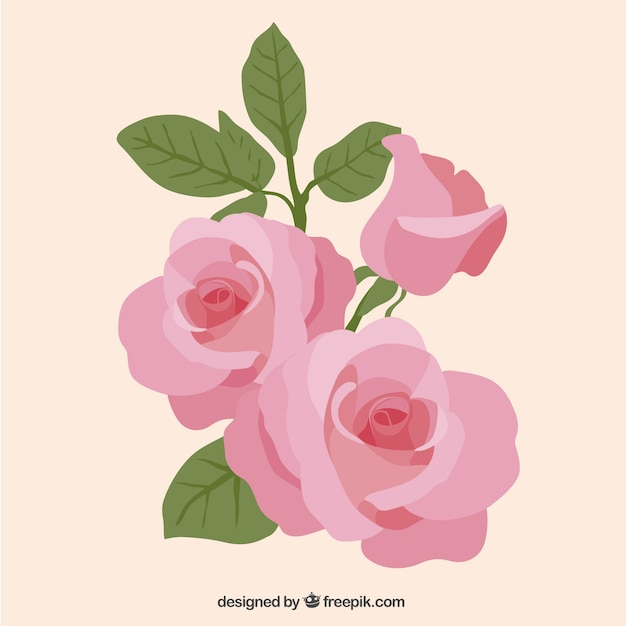 Pink roses Free Vector