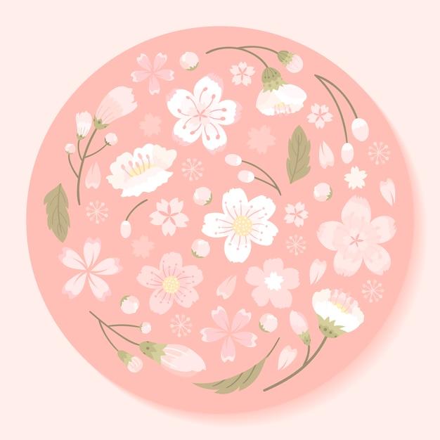 Vettore incorniciato rosa fiori di ciliegio tondo Vettore gratuito
