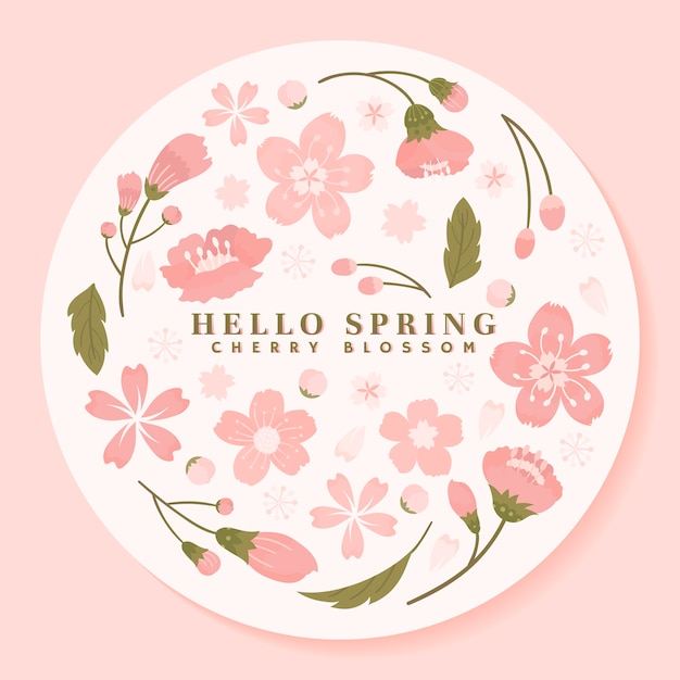 Pink round cherry blossom framed vector Free Vector