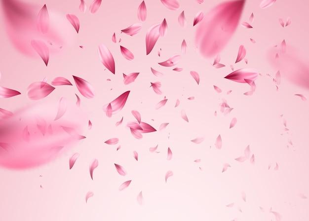 핑크 사쿠라 떨어지는 꽃잎 배경. 삽화 프리미엄 벡터