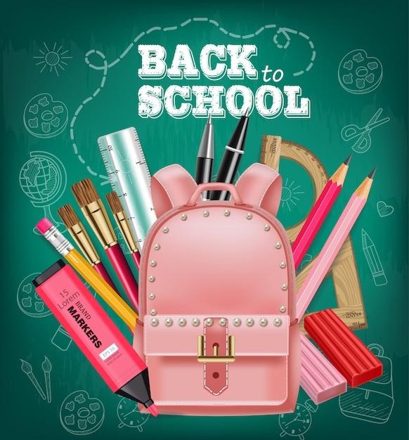Pink satchel back to school card Premium Vector