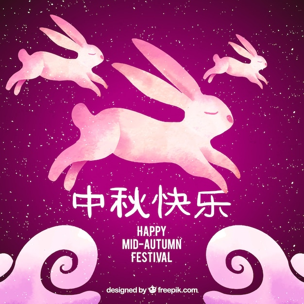 Pink scene with rabbits, mid autumn festival