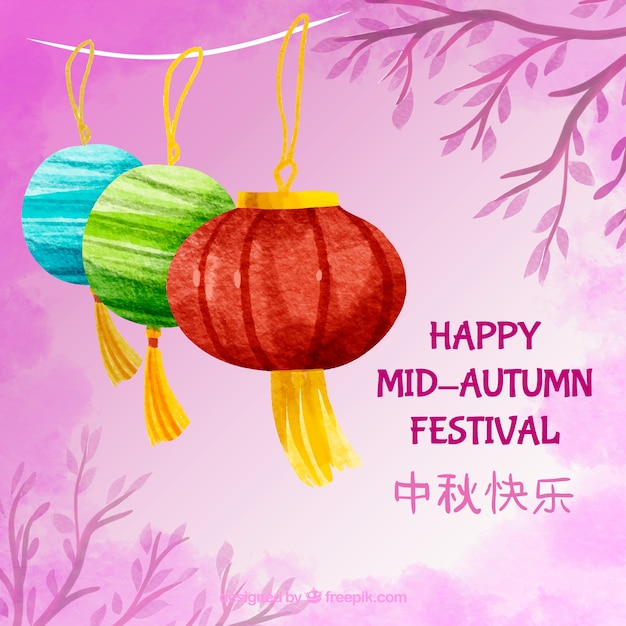 Pink scene with three lanterns, mid autumn festival