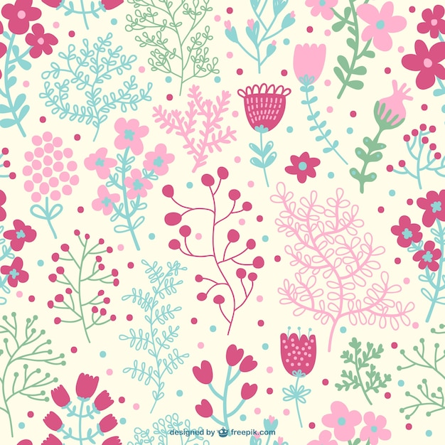Pink seamless floral pattern Free Vector