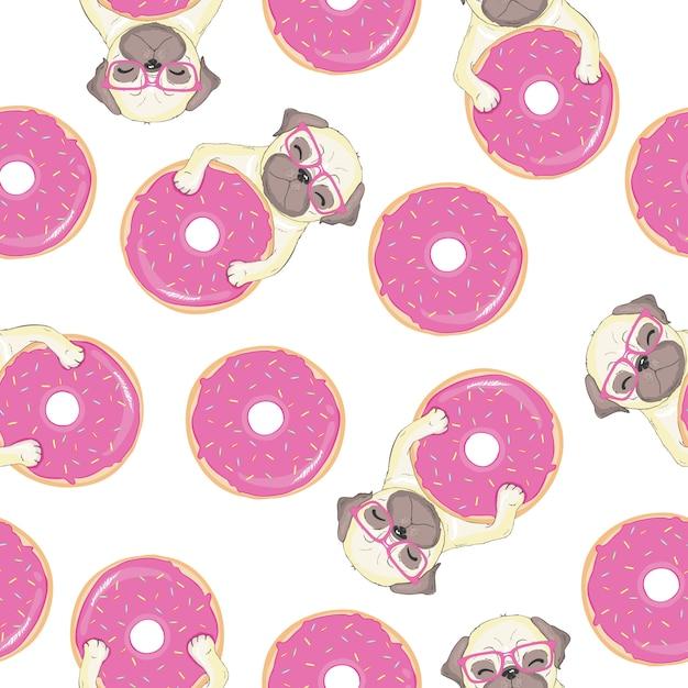 Розовый бесшовный паттерн с смешной французский бульдог и пончик. Premium векторы