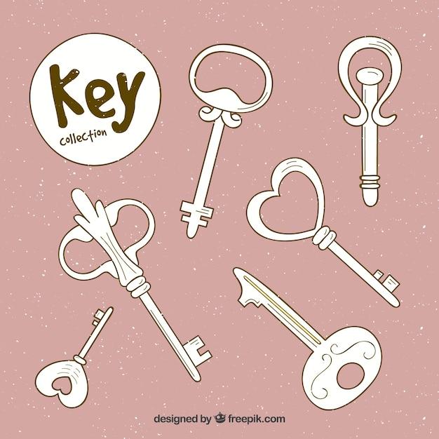 Pink set of keys Free Vector