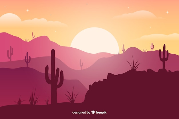 Pink shades desert with cactuses and bright sun Free Vector