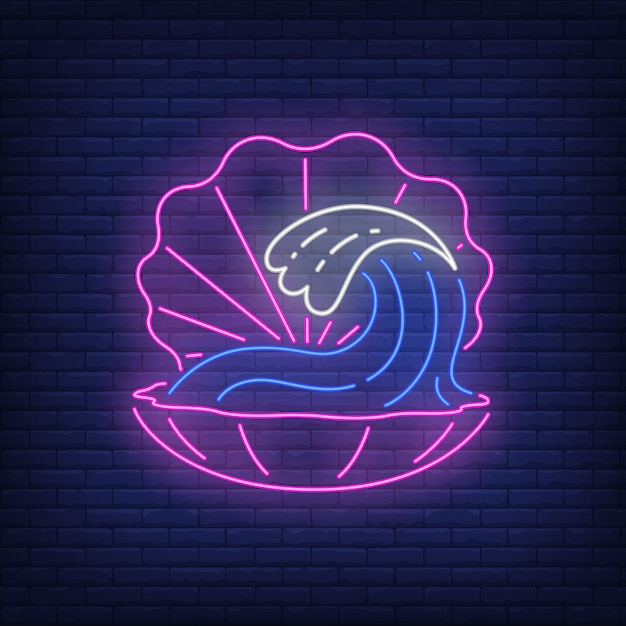 Pink shell neon sign. open seashell with ocean wave inside on brick wall Free Vector