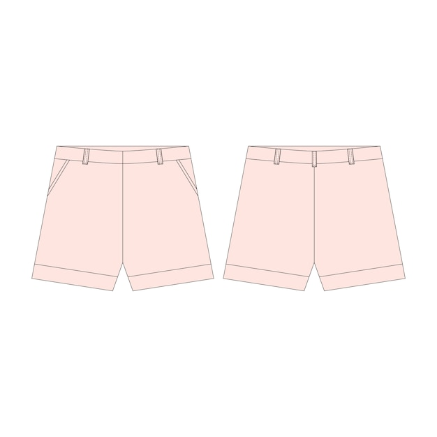 Pink shorts pants for girls isolated  . Premium Vector