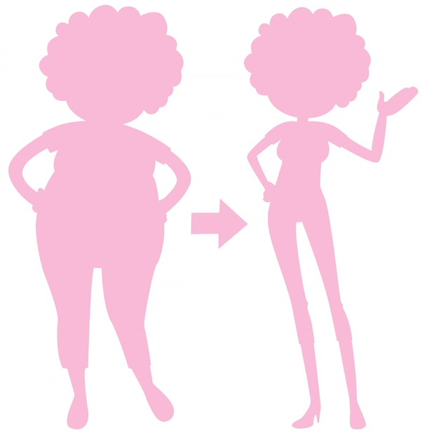 A pink silhouette of body transformation Free Vector