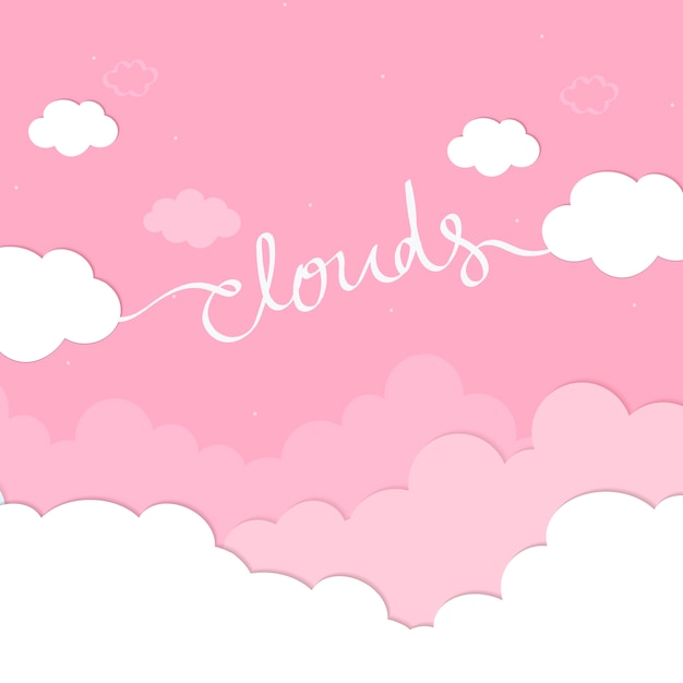 Pink sky with clouds wallpaper vector Free Vector