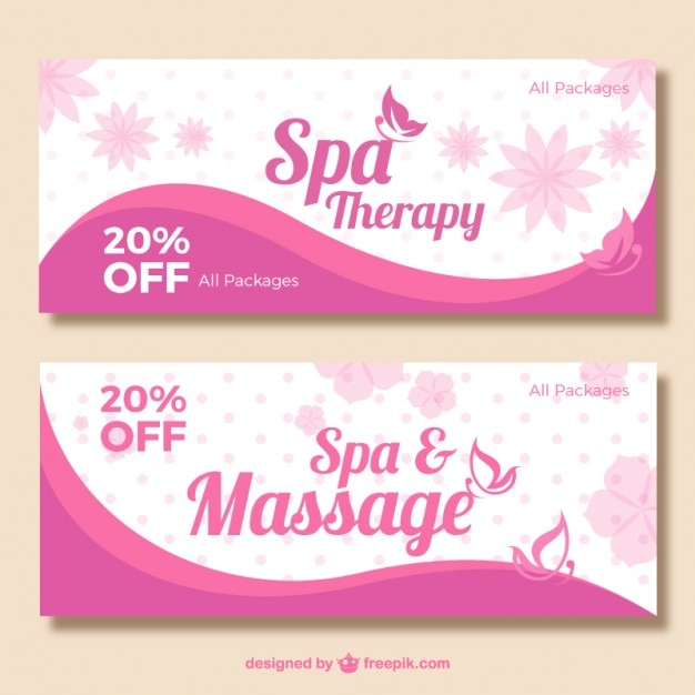 Pink spa banners Free Vector