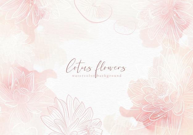 蓮の花のベクトルとピンクのスプラッシュ背景 Premiumベクター