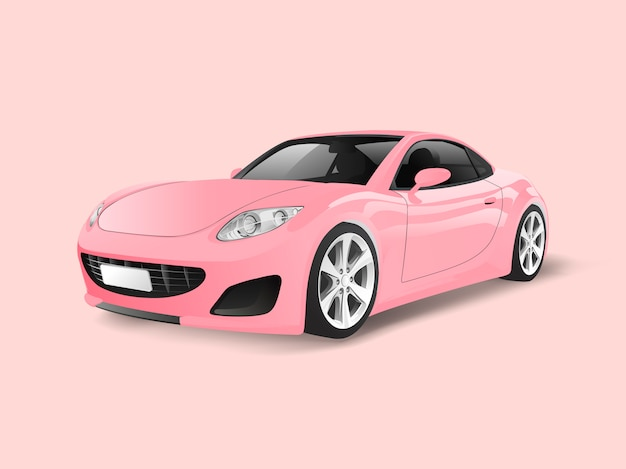 Pink sports car in a pink background vector Free Vector
