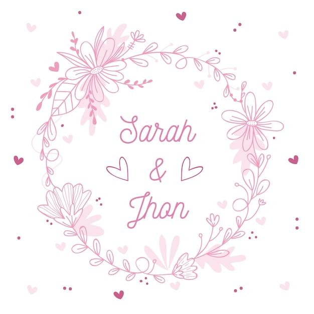 Розовая весенняя цветочная рамка для свадьбы Бесплатные векторы