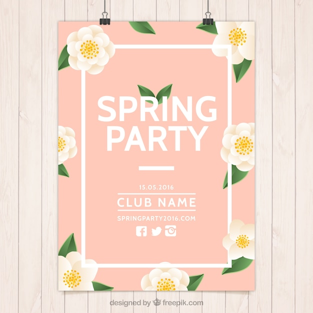 pink spring party poster with flowers vector free download