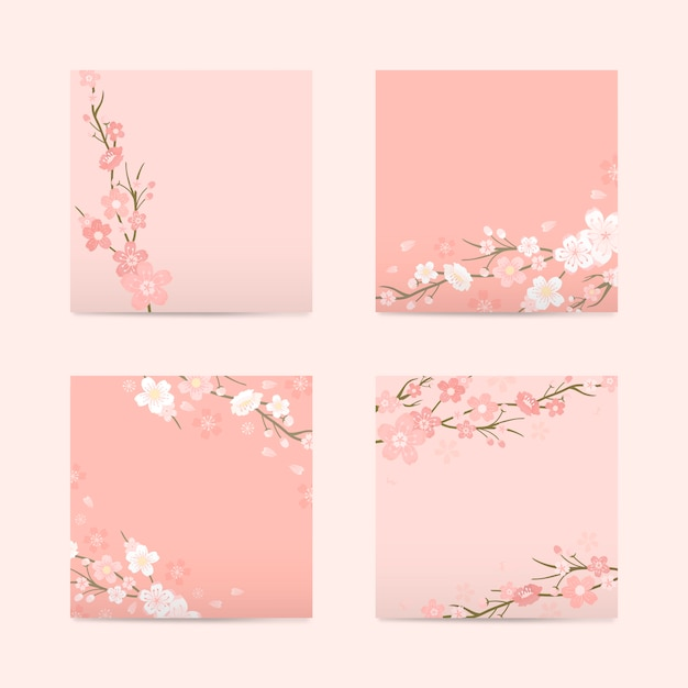 Pink square cherry blossom paper vector Free Vector