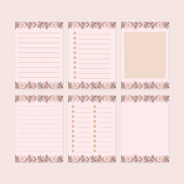 Pink  stationery paper template set Premium Vector