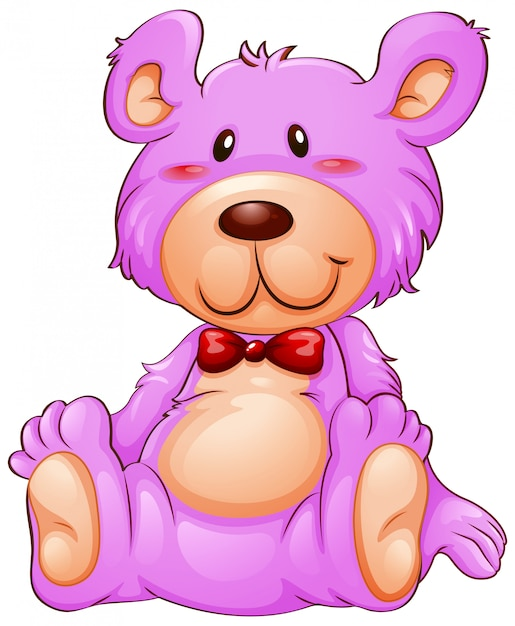 A pink teddy bear on white background Free Vector
