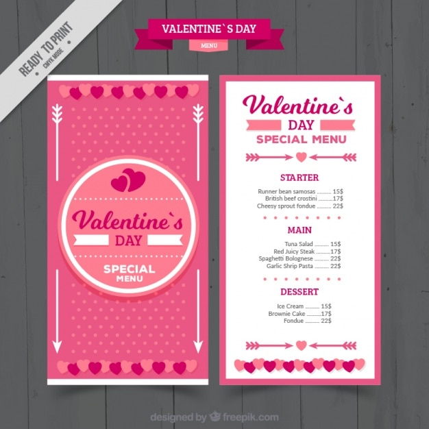 Pink template of valentine's day menu Free Vector
