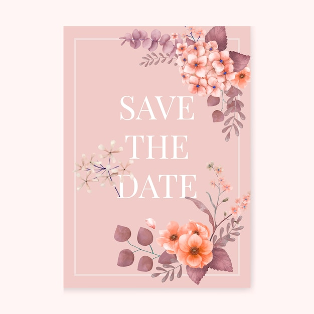 Pink themed floral wedding card Free Vector