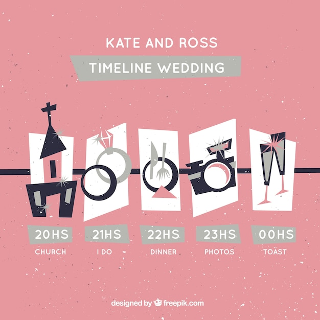 Pink timeline wedding in retro style Free Vector