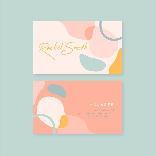 Pink tones of pastel coloured stains business card Free Vector
