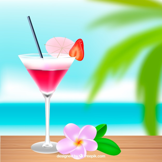 Pink Tropical Cocktail Background Vector