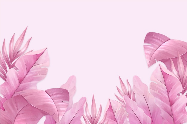 Pink tropical leaves background Premium Vector