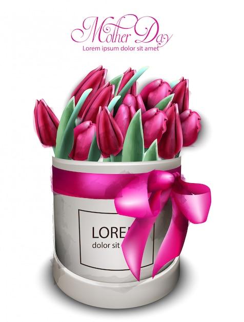 Pink tulip flowers bouquet watercolor Premium Vector