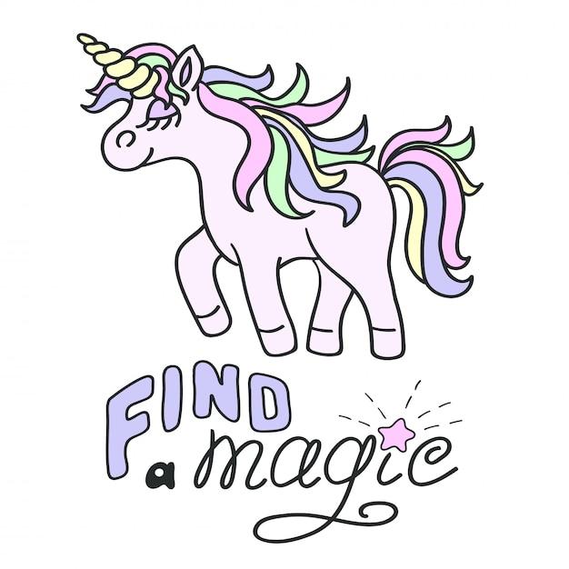 ピンクのユニコーンと魔法のレタリングを見つける Premiumベクター