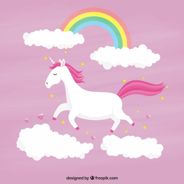 pink unicorn background with clouds and rainbow vector cute baby horse clipart cute horse clipart