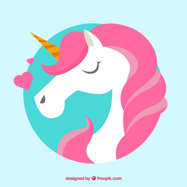 Pink unicorn background with hearts Vector | Free Download