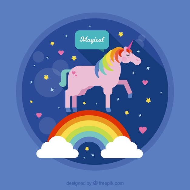 Pink unicorn background with rainbow and clouds