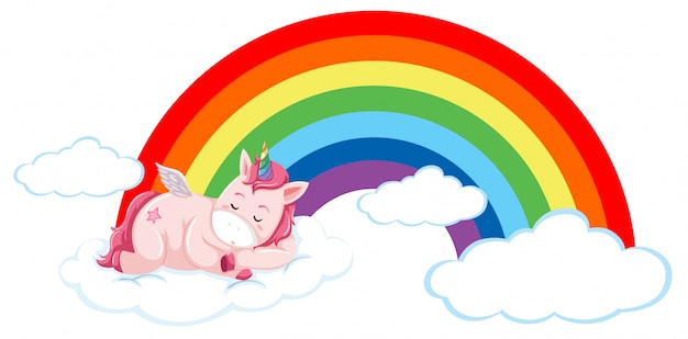 Pink unicorn on the cloud Free Vector