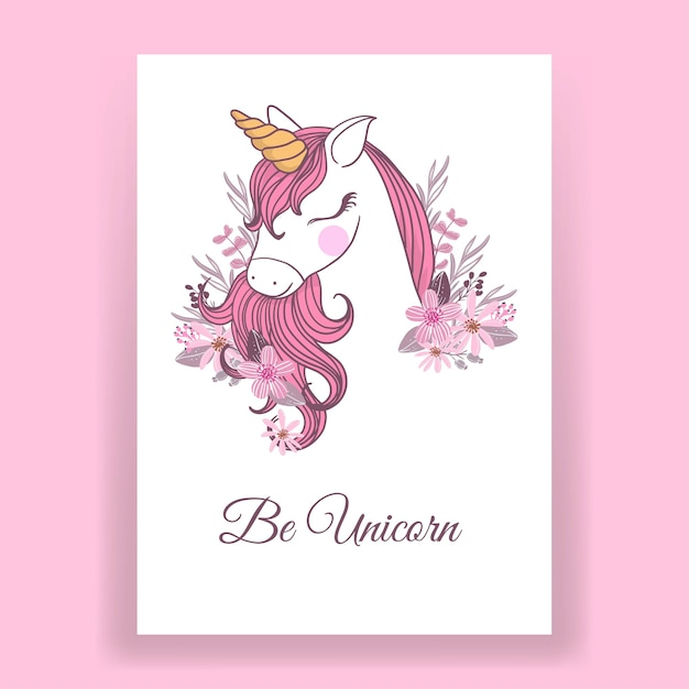Pink unicorn illustration for poster Free Vector