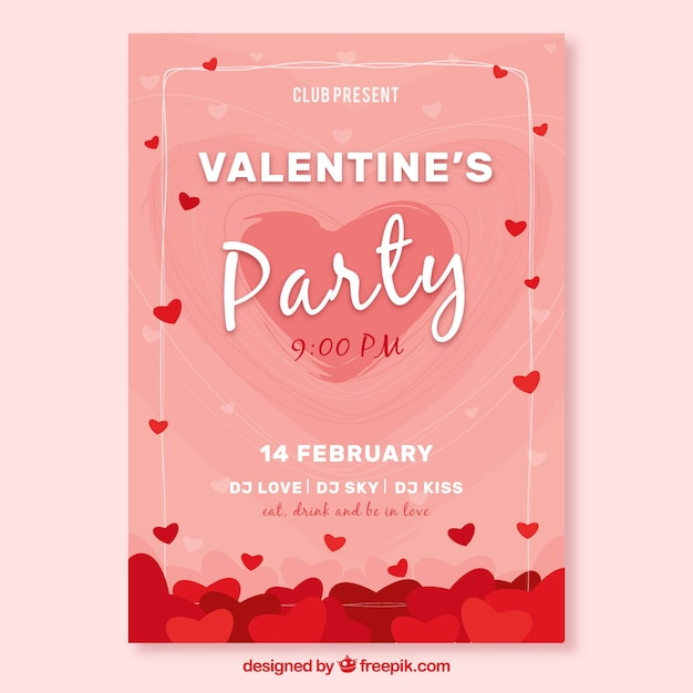 Pink valentine cover template Vector | Free Download