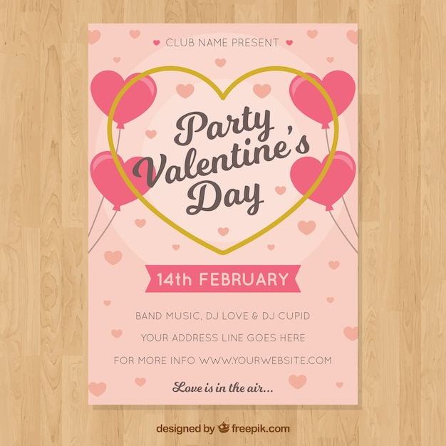 Pink Valentine Flyer Template Vector Free Download