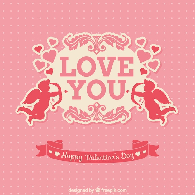 Pink valentine's card with cupids Free Vector