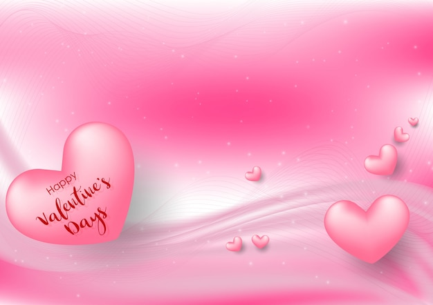 Розовый день святого валентина с сердечками на розовом фоне Premium векторы