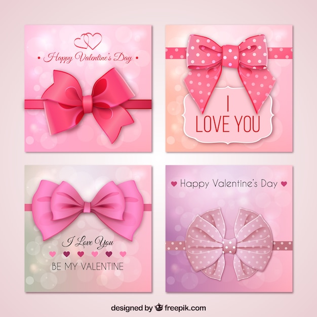 Pink Valentines day cards with a big bow Vector | Premium Download