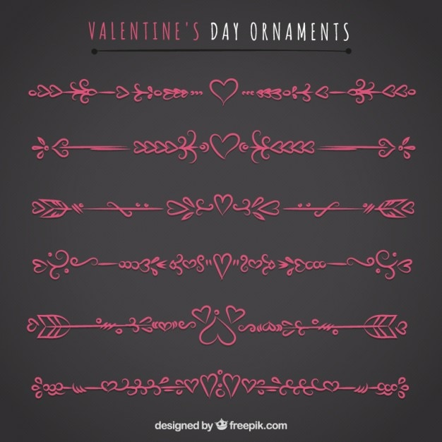 Pink valentines day ornaments