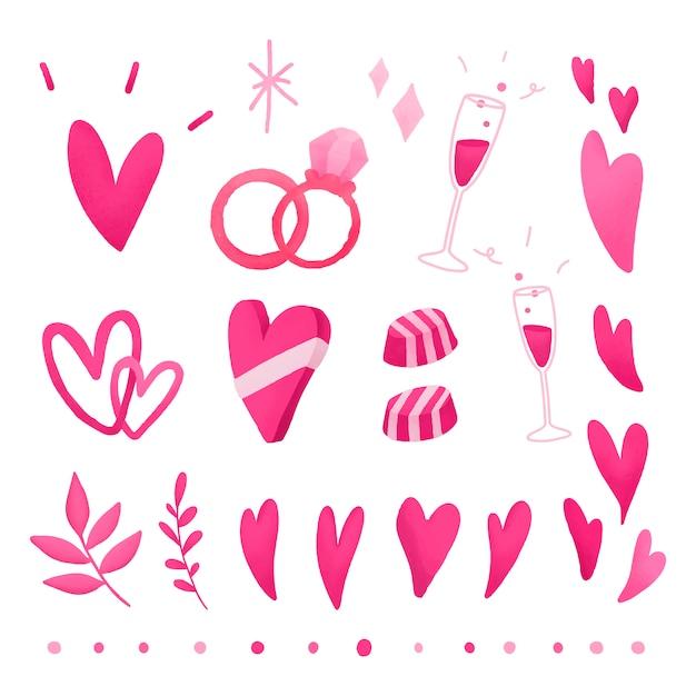 Pink valentines love doodle set Free Vector