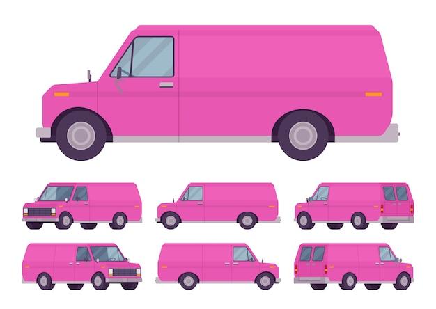 Pink van set Premium Vector